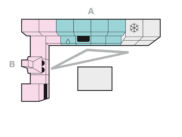 L forma + virtuvės sala